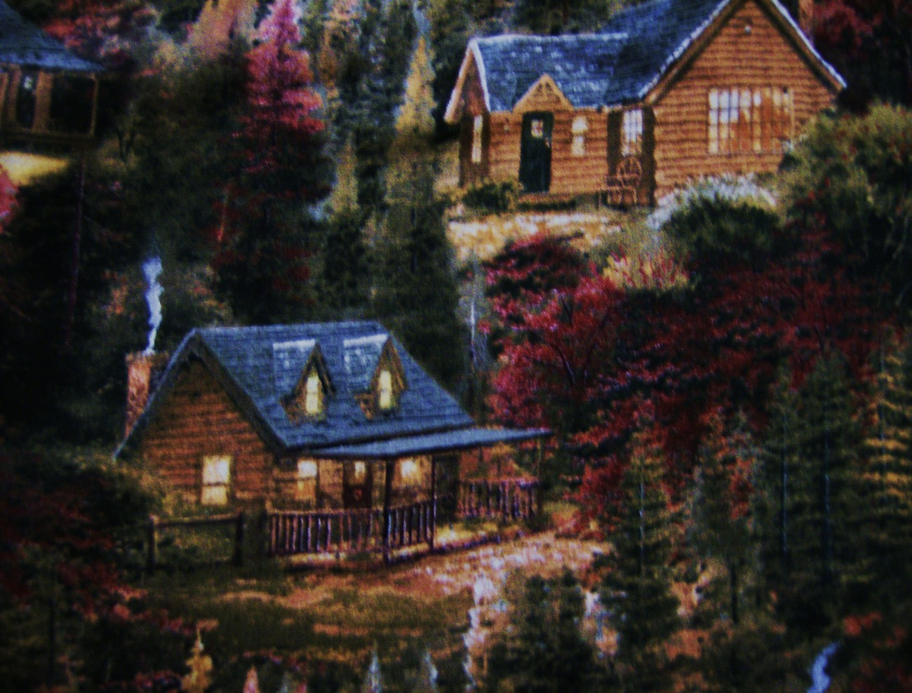 Thomas Kinkade Cottage Fall Cotton Fabric