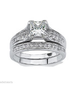 Women's Stainless Steel Princess Cut CZ Wedding... - $19.79
