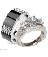 His & Hers Wedding Ring Set  Sterling Silver & ... - $49.99