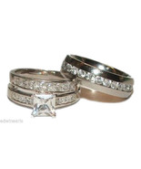 His & Hers Wedding Ring Set Sterling Silver & S... - $49.99