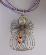 Autism Awareness Ribbon Angel Necklace Handmade - $12.99