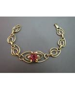 Art Deco LINC 12k Gold Filled Link Bracelet Flo... - $69.99