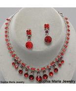 Victorian Stunning Red Crystal necklace set bri... - $22.77