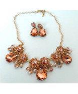 Rose gold peach crystal teardrop flower necklac... - $29.69