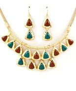 Egyptian style necklace set triangle green brow... - $21.77