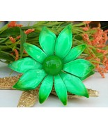 Vintage_metal_enamel_flower_brooch_pin_bright_green_large_layered_thumbtall