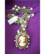 PALM BEACH JEWELRY ANTIQUED CAMEO PENDANT NECKLACE - $22.00