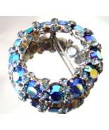 Vintage Signed Warner Blue AB  Rhinestone Silve... - $27.00