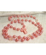 Peach Pearl Beaded Cross Necklace With Faceted ... - $25.00