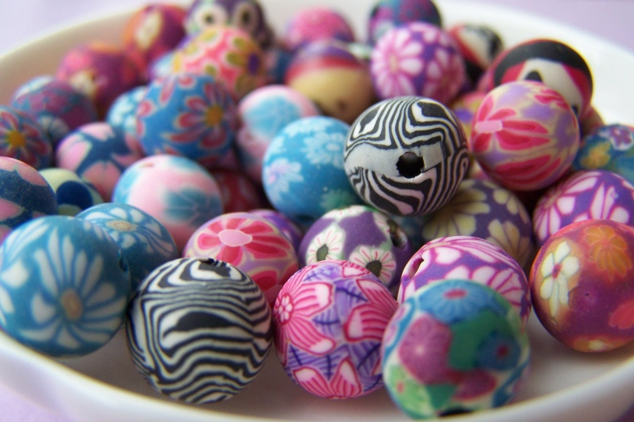 20 pcs of Polymer Clay Beads  Mixed Color     10mm  A1918