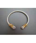 Pretty Two Tone Cuff Bracelet AB Rhinestones Ac... - $17.99