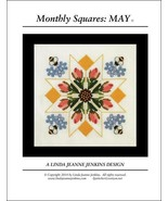 Monthly Squares May cross stitch card chart Lin... - $6.00