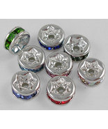 Silver 6mm Rhinestone Bead Rondelle Spacer Lot ... - $3.50