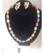 RAINBOW Acrylic Bead Gold Toned Necklace & Chan... - $5.50