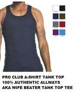 BLACK TANK TOP T-SHIRT by PRO CLUB LIGHT WEIGHT... - $20.76 - $29.78