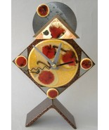 Honey Red Diamond Desk Clock Ceramic Metal Mant... - $70.00