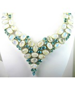Blue Flash Moonstone Ovals and Ice Blue Topaz T... - $358.08