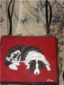 Border Collie Custom Painted Handbag Purse