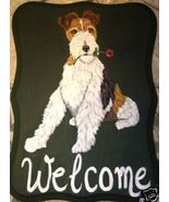 Fox Terrier Dog Custom Painted Welcome Sign Plaque - $35.00