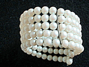 Vintage Multi-Strand Faux Pearl Wire Wrap Bangle