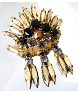 Vintage Juliana Brooch Black Gold Navette Rhine... - $36.00