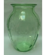 Vintage Antique Vase Green Depression Glass Hoc... - $69.97