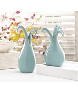 2 Baby Blue Lily Shaped Vases - $19.00