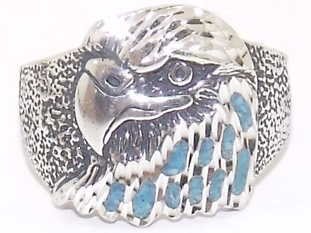 Sterling Silver Turquoise Eagle Mens Ring Size 10 New
