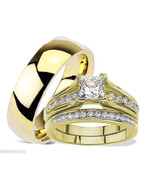 HIS HERS 3 PIECE MEN'S WOMEN'S GOLD PLATED WEDD... - $29.99