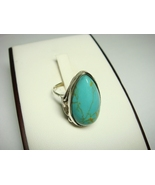 Sterling Silver Ring with Pear Turquoise Stone - $18.00