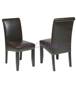ESPRESSO ECO Leather Parsons Side Dining Chairs... - $92.00