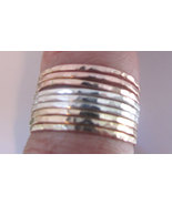 Stacking rings mixed metals  hammered rose gold... - $65.50