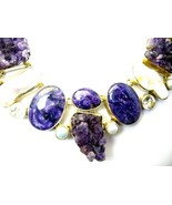Charoite with Amethyst Crystals and Pearls + To... - $285.12
