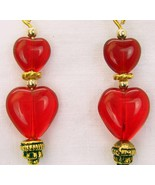 Ruby Red Art Glass Hearts Dangle Gold-Filled 14... - $50.88