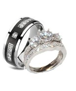 3 pc His Hers Wedding Rings Sterling Silver Cz ... - $49.98