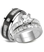 3 pc His Hers Wedding Rings Stainless Steel & T... - $39.99