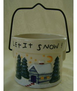 Let It Snow, Jar Candle Crock, Ceramic, Tender ... - $12.00