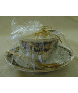 Candle in a China Teacup w/Saucer and Spoon, Li... - $25.00