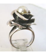 Vintage 925 Sterling Open Rose  Ring Pearl Hand... - $35.00