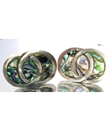 Vintage Sterling Taxco Abalone Inlay Earrings S... - $39.00