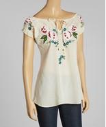 Luv2Luv Ivory & Pink Floral Peasant Top - XL - $35.00