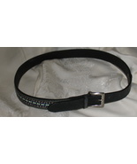 Black Leather Cloth Belt Size Medium - $8.95