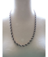 VTG Monet Silver Tone Thick Woven Chain Necklac... - $26.72