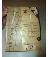 VINTAGE BURLAP SCRAP SCRIPT KEY EMBELLISHED DEC... - $12.99