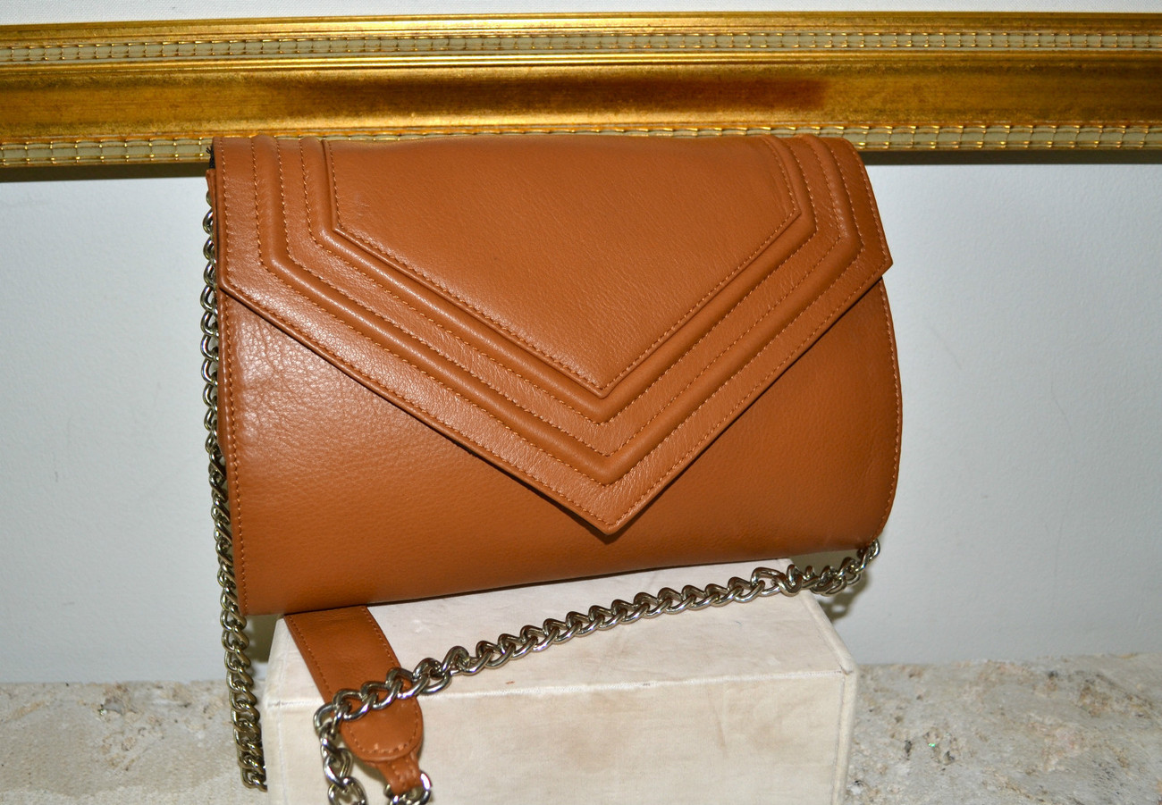"New $315 POSSE ""Lina"" Smooth Leather Clutch Shoulder Bag Handbag Honey Tan"