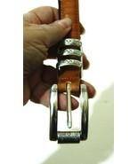 BRIGHTON Wms Gold Reptile Leather Belt Silver S... - $13.99