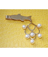 Vintage fish gold tone dangling faux pearls tie... - $12.00