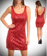 Red Sequin Dress-Med - $37.99
