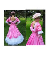 Gown dress Victorian pink gloves Fairy tale Ant... - $142.00