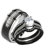 His Hers 4 Piece AAA Cz Wedding Ring Set Black ... - $27.99